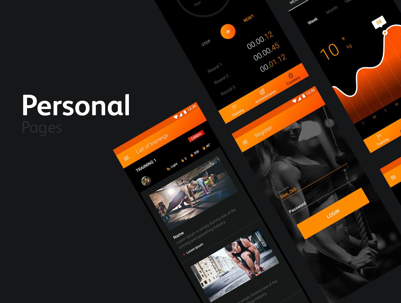 高质量健身旅行商城购物Android UI工具包 FIT BIT Sport UI Kit插图(2)