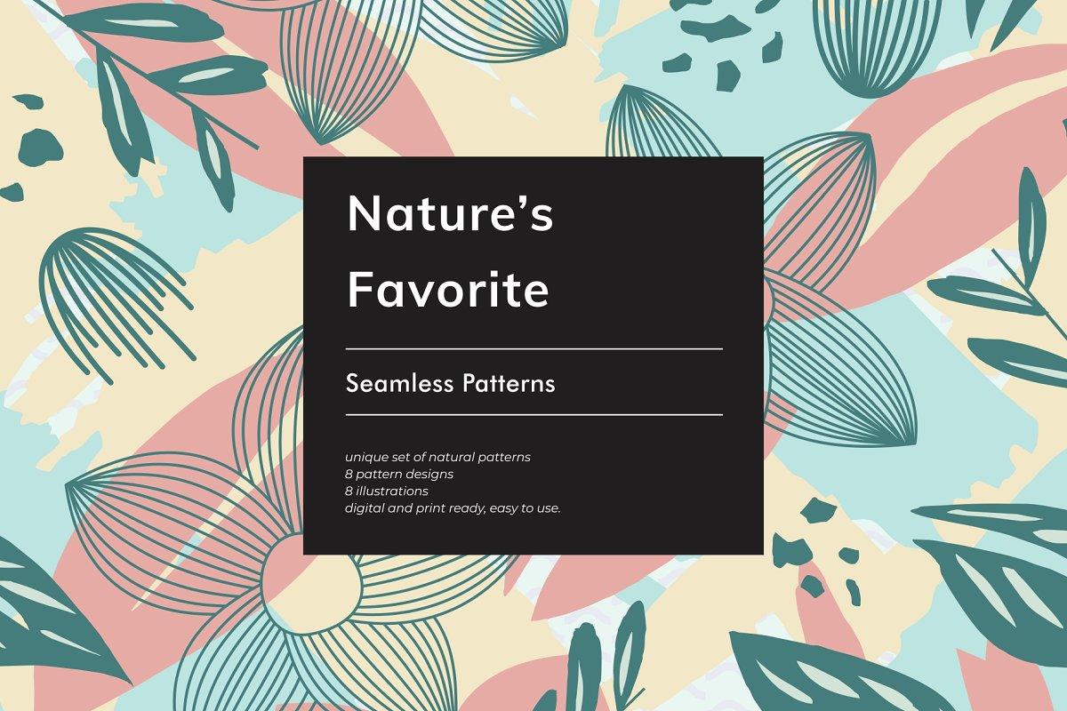 多彩大自然植物叶子无缝EPS矢量图案 Nature's Favorite Seamless Patterns插图