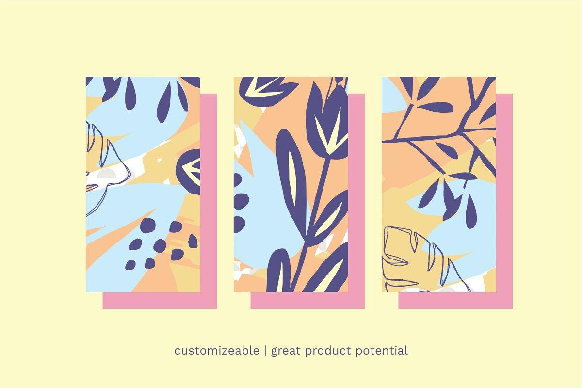 多彩大自然植物叶子无缝EPS矢量图案 Nature's Favorite Seamless Patterns插图(3)
