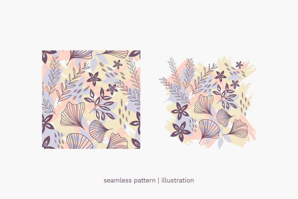多彩大自然植物叶子无缝EPS矢量图案 Nature's Favorite Seamless Patterns插图(5)
