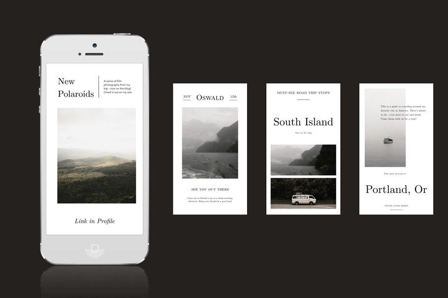 摄影师旅行摄影Instagram故事模板社交媒体推广素材包 Oswald Instagram Stories Templates插图(4)