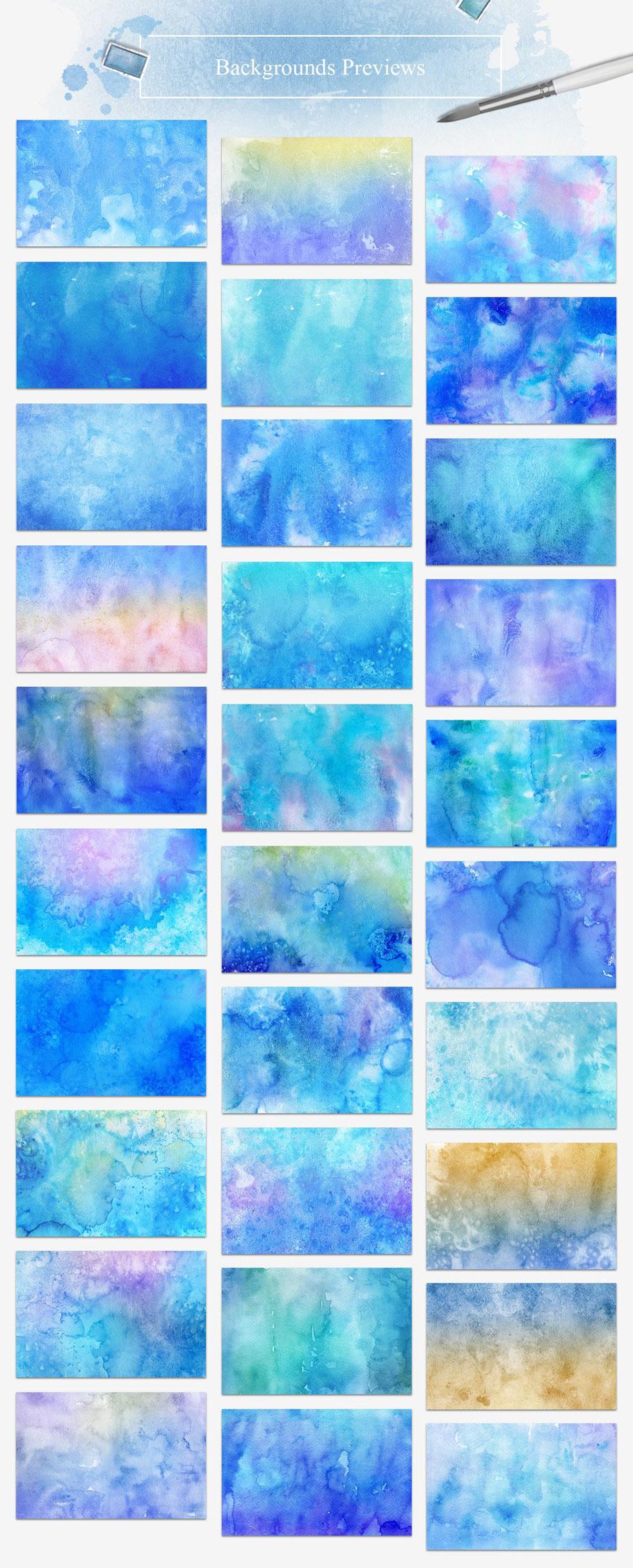 30个富有创意的手工冬季水彩背景纹理 30 Winter Watercolor Backgrounds插图(1)