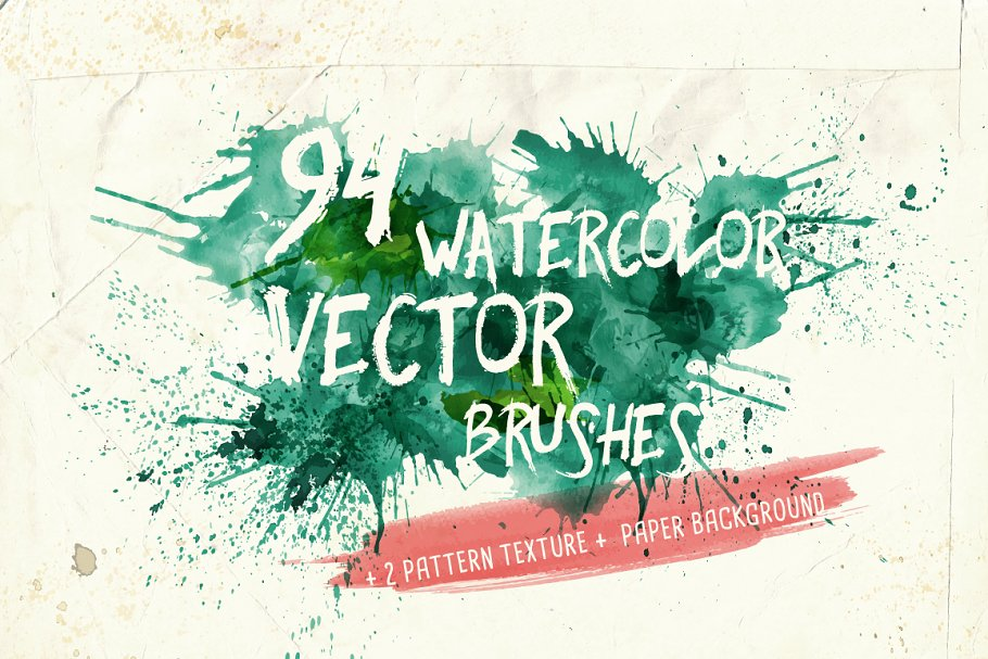 94款手绘水彩矢量艺术笔刷背景纹理 Watercolor Vector Art Brushes插图