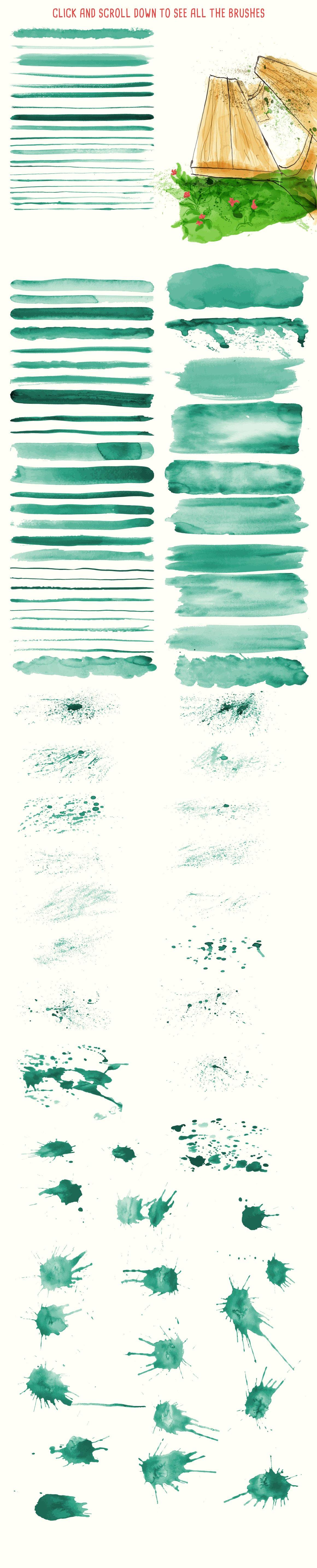 94款手绘水彩矢量艺术笔刷背景纹理 Watercolor Vector Art Brushes插图(1)