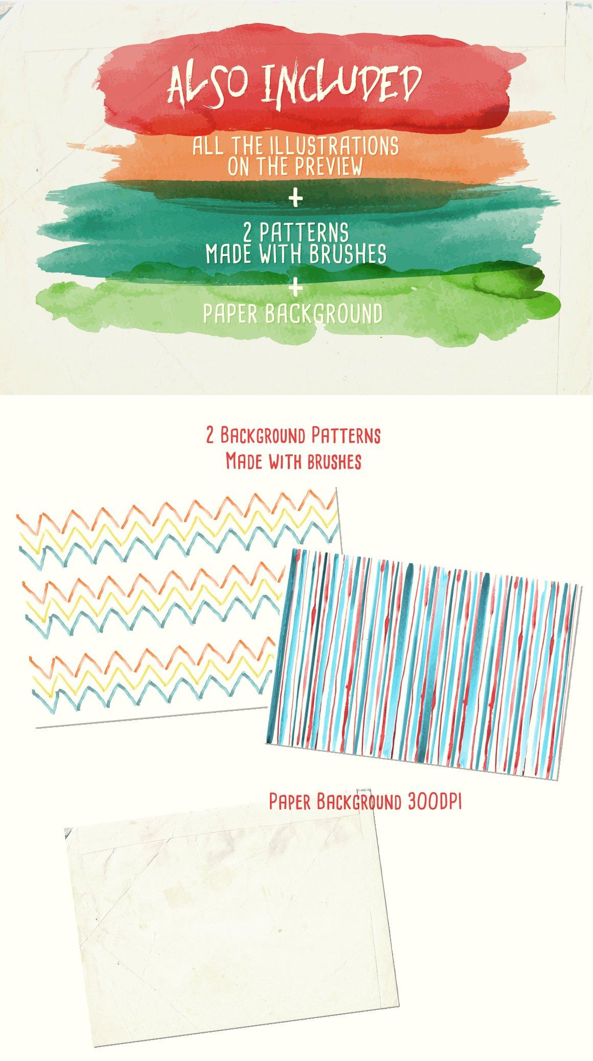 94款手绘水彩矢量艺术笔刷背景纹理 Watercolor Vector Art Brushes插图(2)