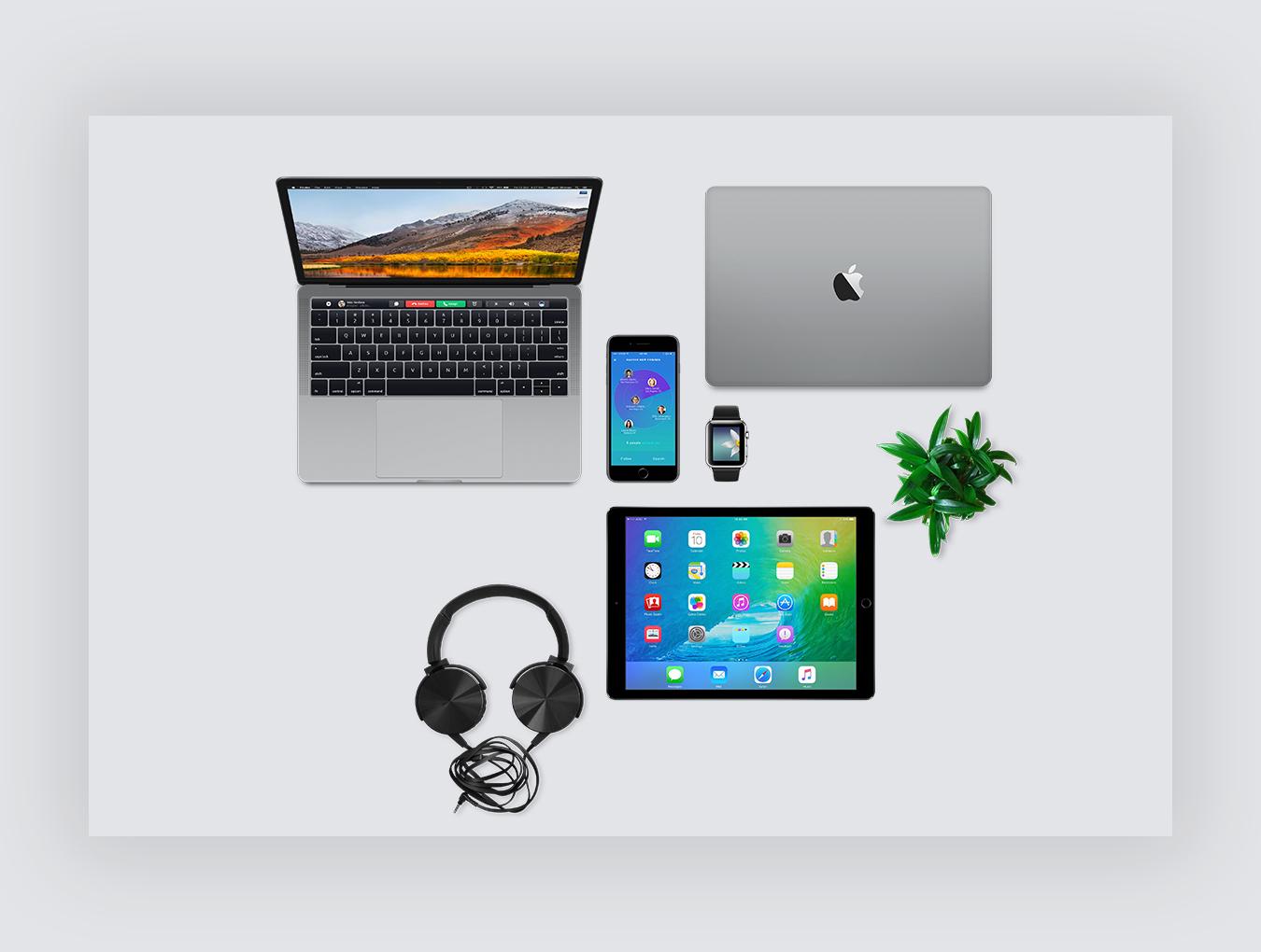 网页设计提案顶视图Apple设备展示样机 Ydlabs TopView Mockups插图(5)
