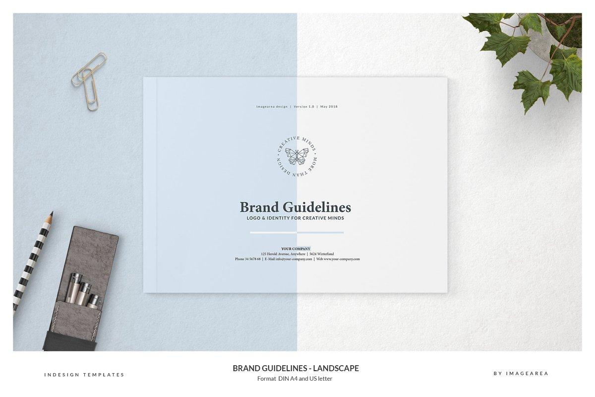 清新服装品牌VI手册标志指南画册模板 Brand Guidelines – Landscape插图