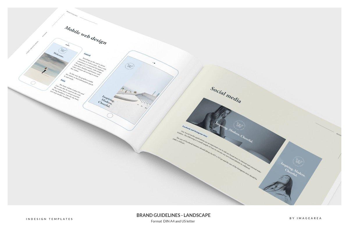 清新服装品牌VI手册标志指南画册模板 Brand Guidelines – Landscape插图(10)