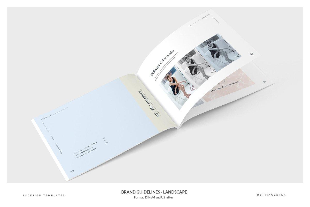 清新服装品牌VI手册标志指南画册模板 Brand Guidelines – Landscape插图(1)