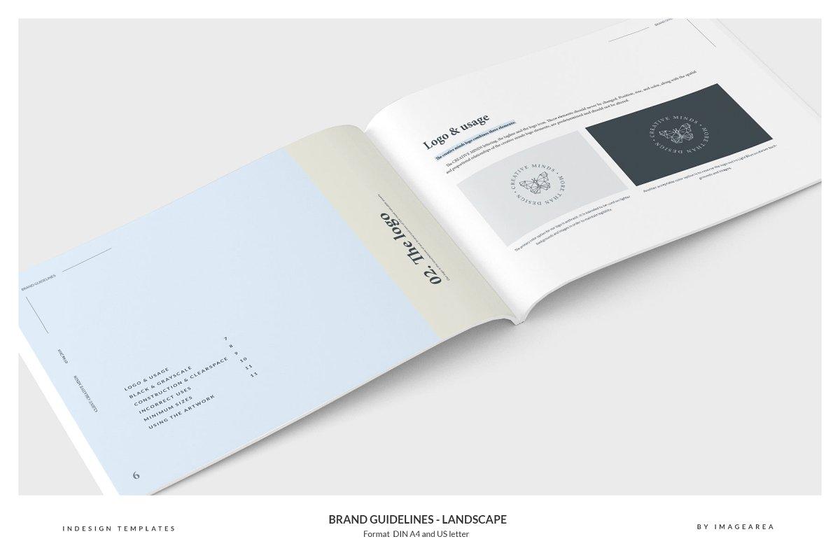 清新服装品牌VI手册标志指南画册模板 Brand Guidelines – Landscape插图(2)