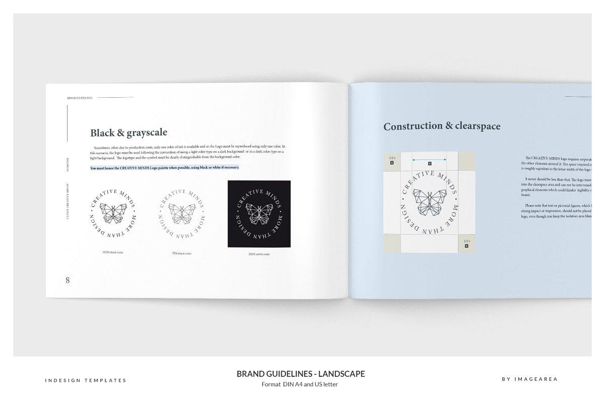 清新服装品牌VI手册标志指南画册模板 Brand Guidelines – Landscape插图(3)