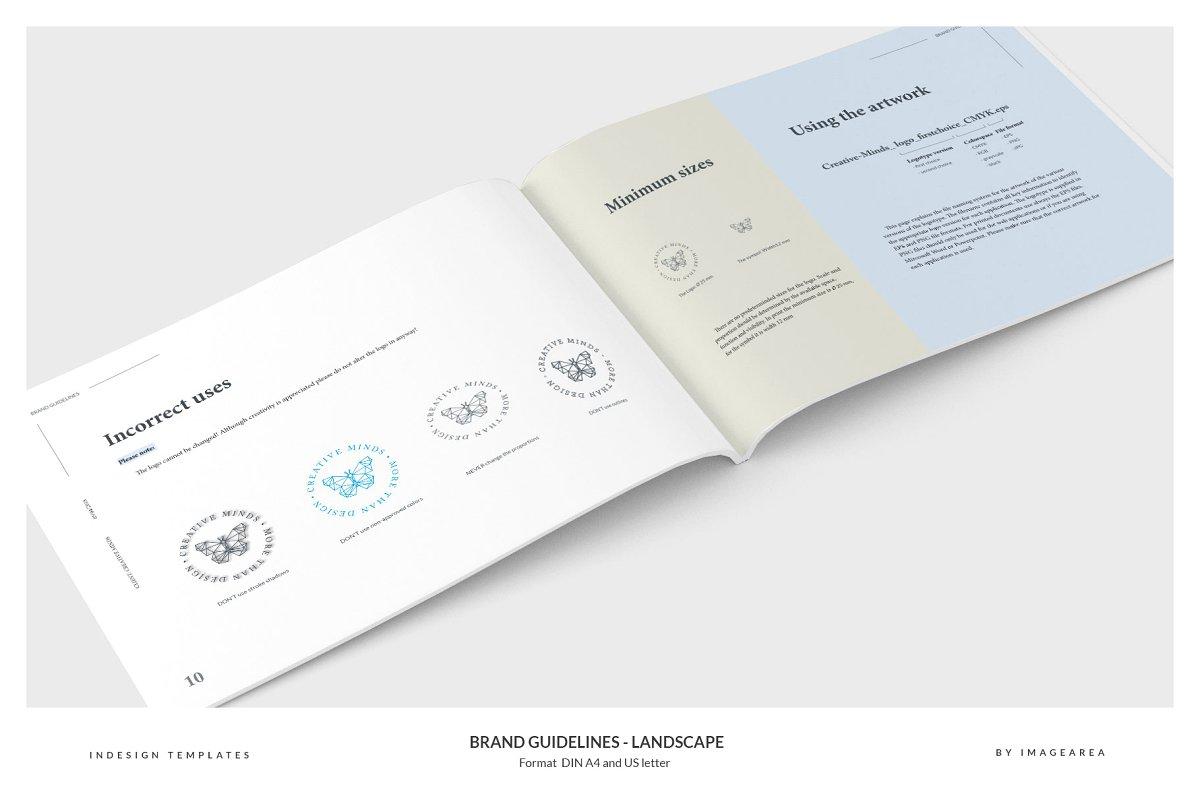 清新服装品牌VI手册标志指南画册模板 Brand Guidelines – Landscape插图(4)