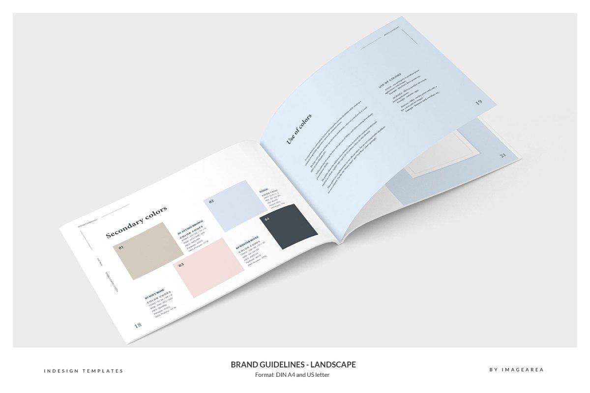 清新服装品牌VI手册标志指南画册模板 Brand Guidelines – Landscape插图(6)
