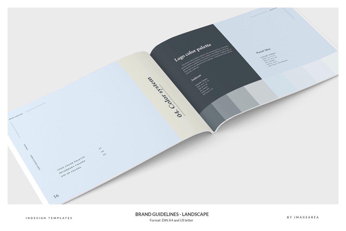 清新服装品牌VI手册标志指南画册模板 Brand Guidelines – Landscape插图(7)