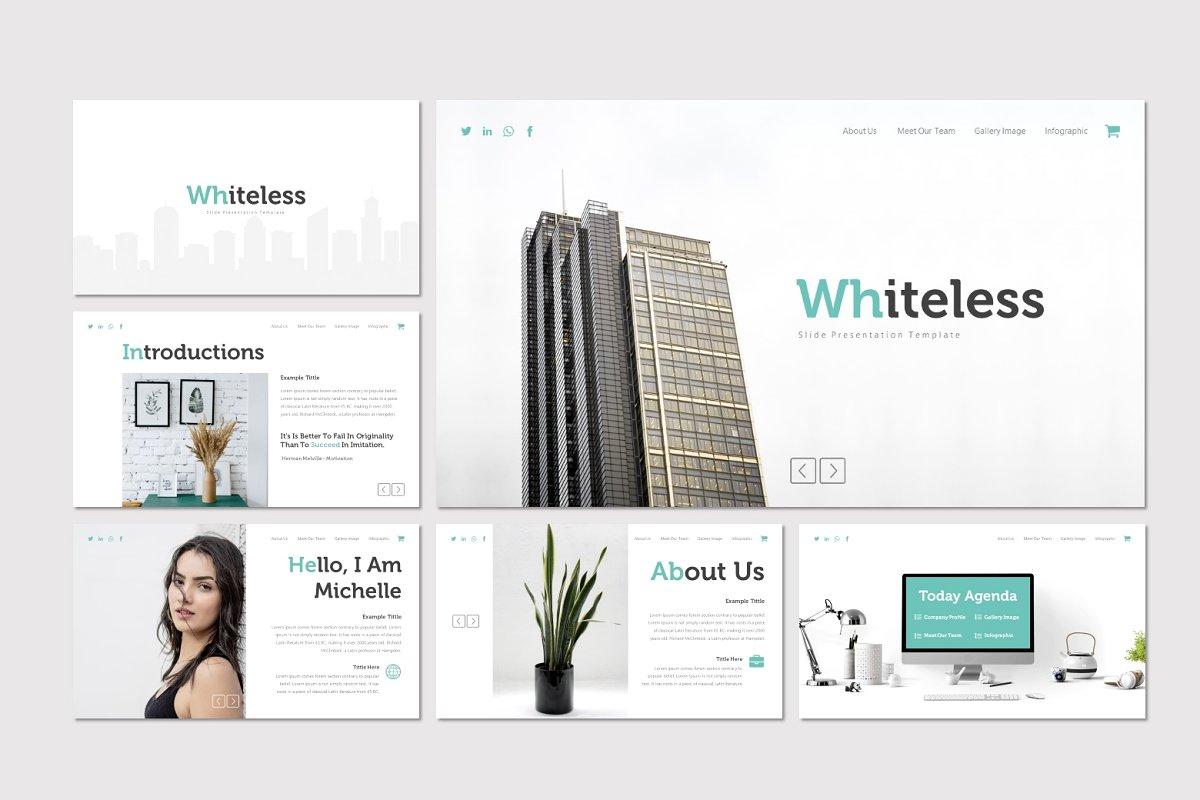 极简多用途商业策划书PPT幻灯片文稿模板 Whiteless – Powerpoint Template插图(1)