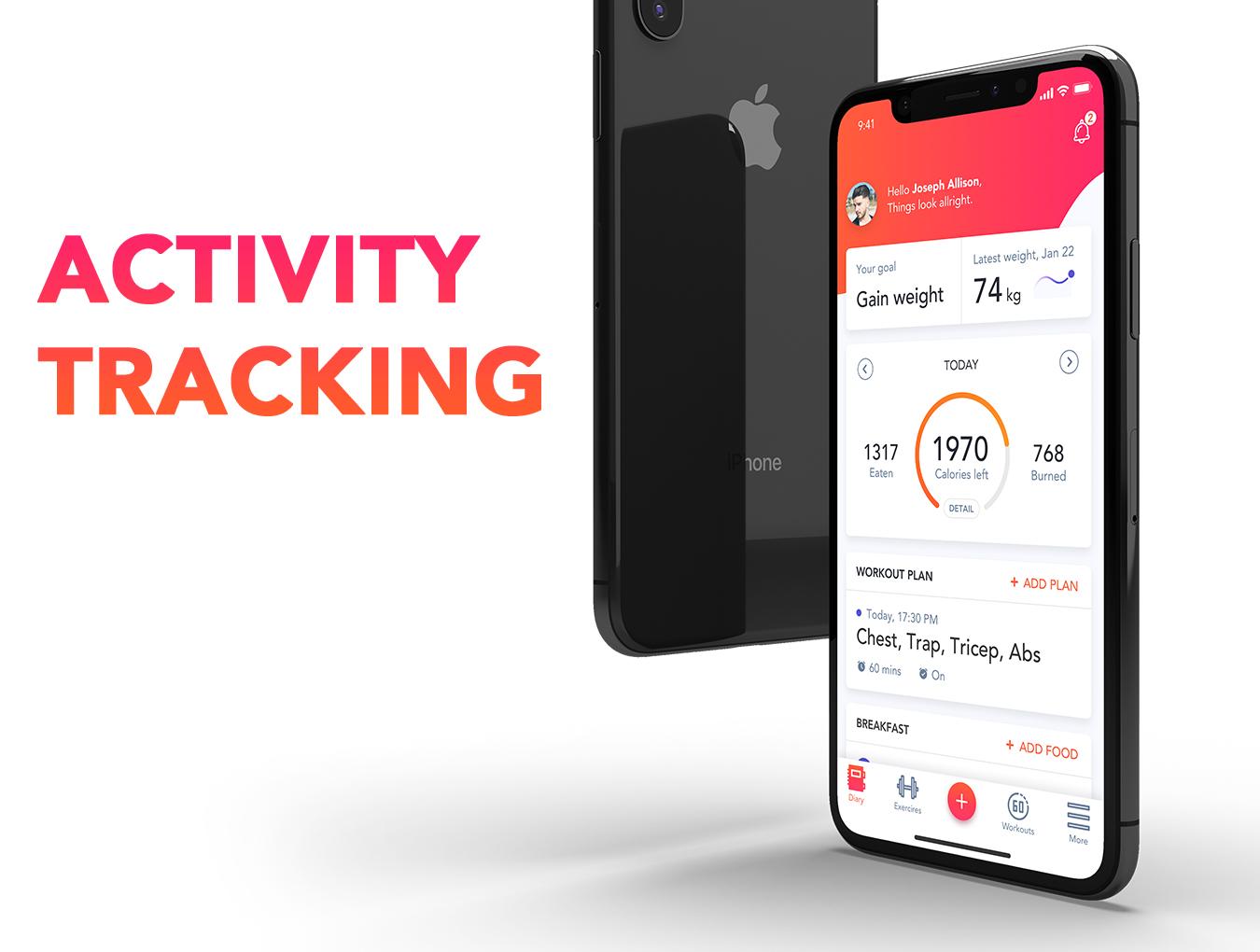 体能健康数据统计&健身培训iOS Apps UI套件 Fitness Love 2.0插图