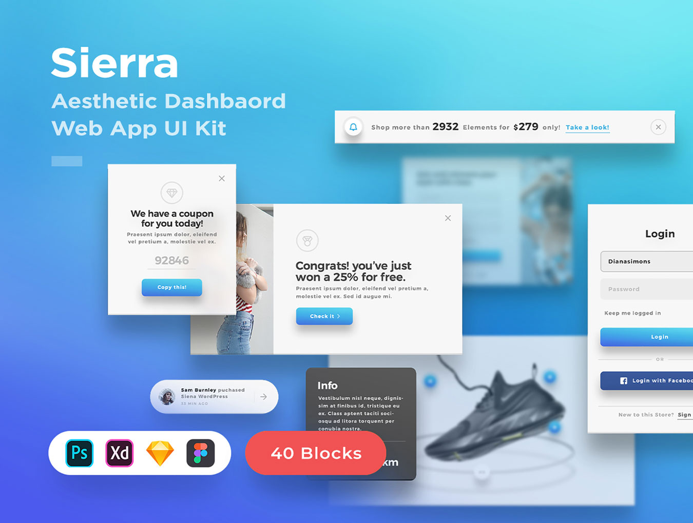 精美的服装鞋子电子商务Web UI套件 Sierra – E-commerce Web UI Kit插图