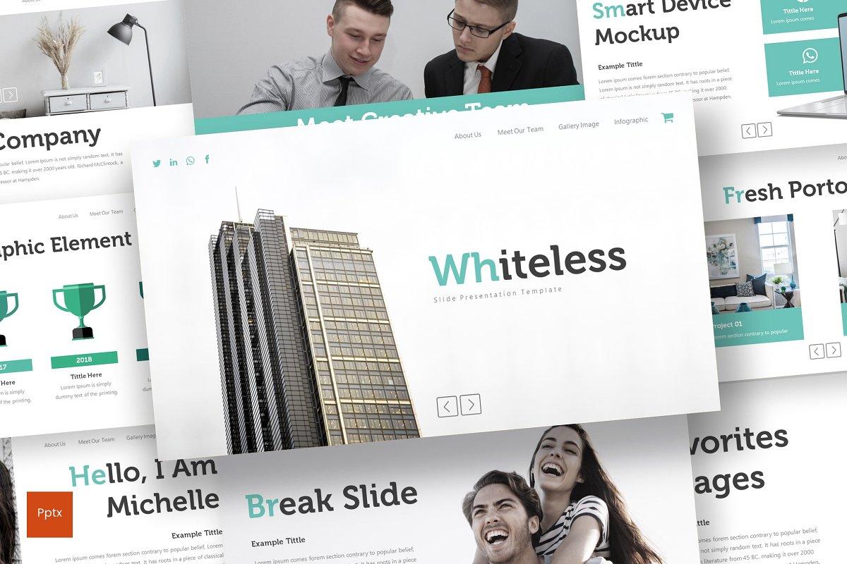极简多用途商业策划书PPT幻灯片文稿模板 Whiteless – Powerpoint Template插图