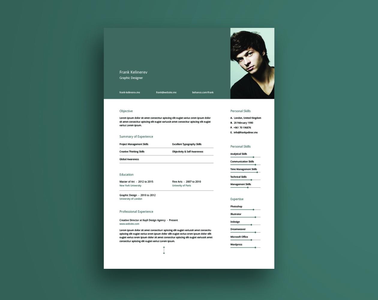 创意简洁的个人简历AI模板 Creative Resume Template插图