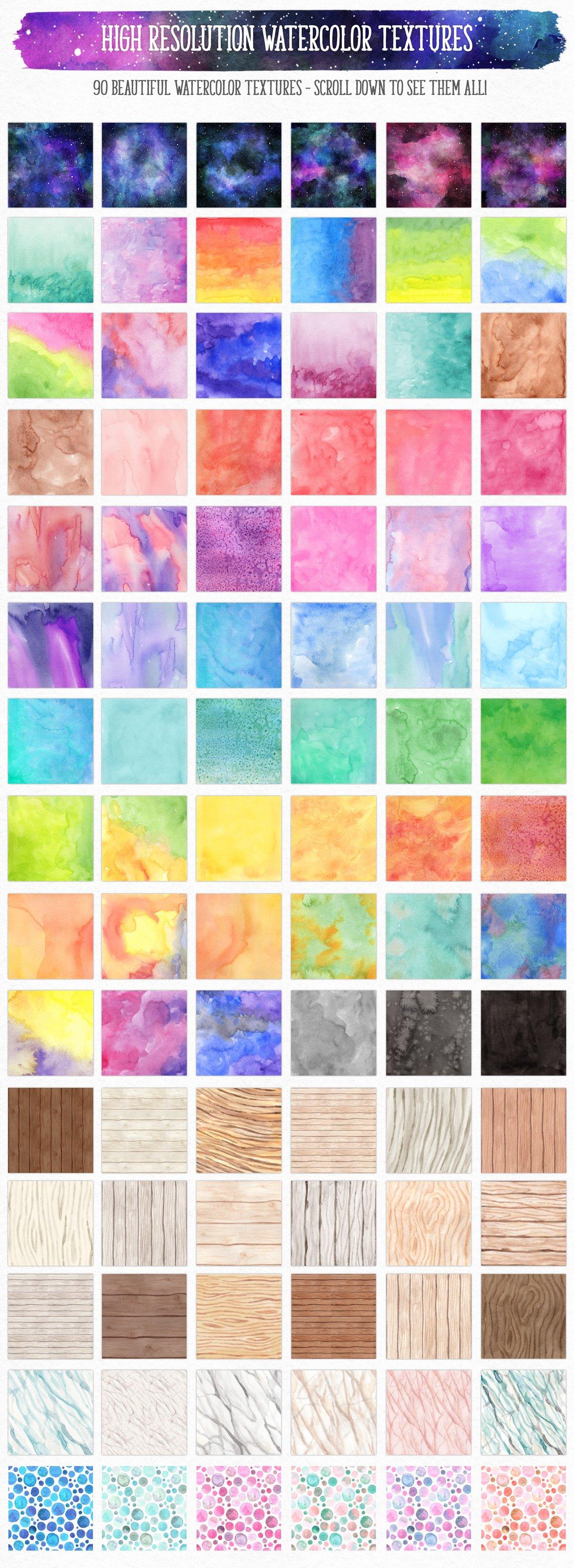 700多个木材大理石空间水彩纹理工具包 New Watercolor Texture Toolkit插图(12)
