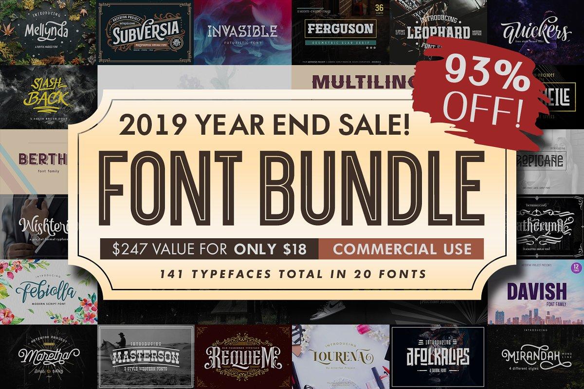 2019年超巨141个英文字体包下载 Font Bundle 2019插图