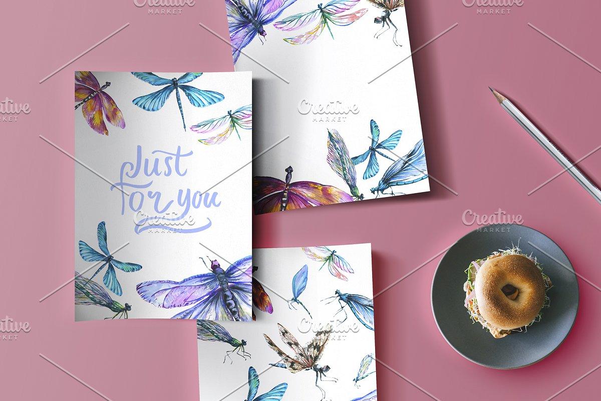 多彩手绘蜻蜓水彩剪贴画素材包 Dragonfly Illustration Watercolor插图(2)