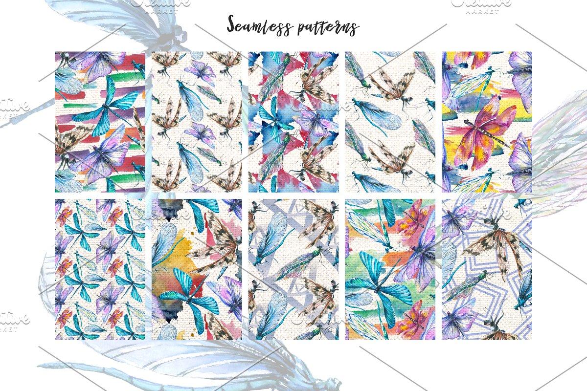多彩手绘蜻蜓水彩剪贴画素材包 Dragonfly Illustration Watercolor插图(4)
