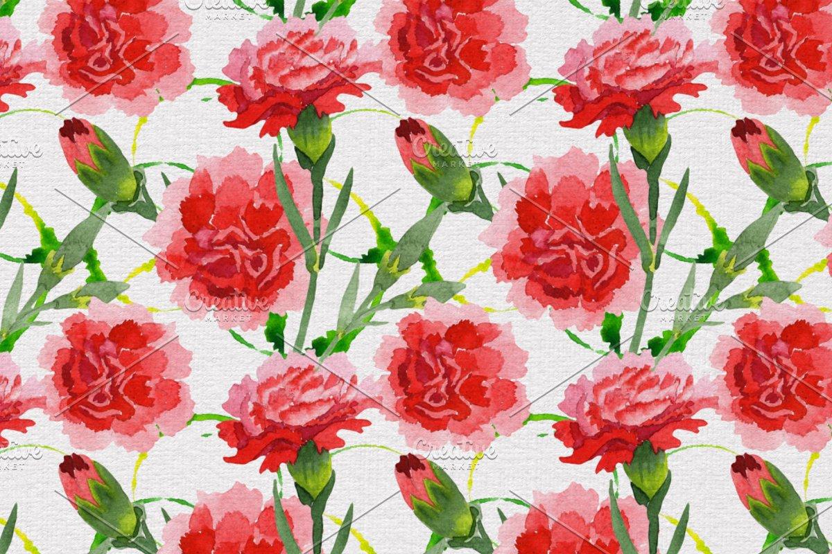 红色康乃馨花卉水彩剪贴画素材包 Carnation Red Flowers Illustration插图(4)