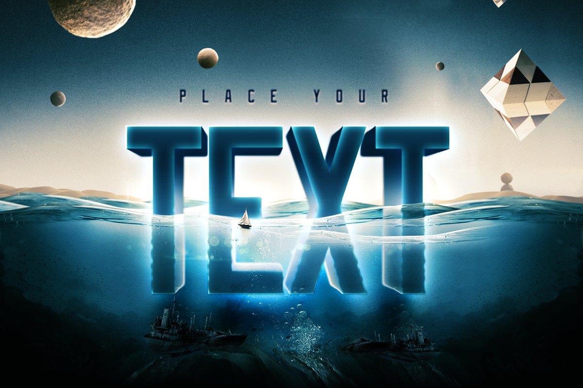 科幻电影半水下文字标志标题3D效果PS图层样式模板 Underwater Text Logo Effect插图(5)