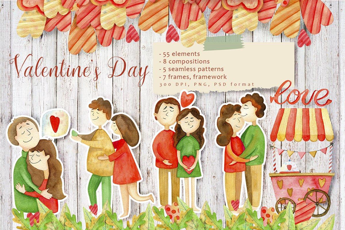 高质量红褐色情人节手绘水彩插画设计素材包 Valentines Day Watercolor Set插图