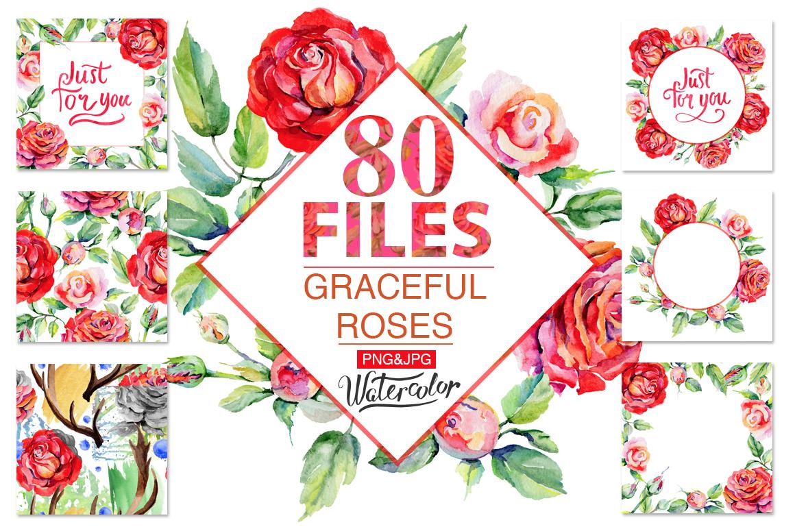 鲜艳玫瑰红色花卉水彩剪贴画套装 Roses Red PNG Watercolor Flower Set插图