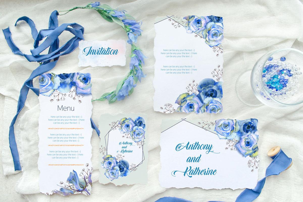 浪漫情人节手绘蓝色水彩玫瑰花剪贴画设计素材 Blue Roses. Watercolor Illustrations插图(1)