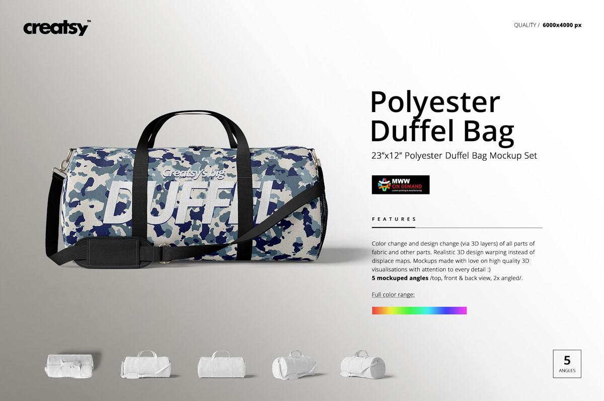 手提/斜挎帆布行李包设计展示图样机模板(23×12) Duffel Bag Mockup Set (23×12)插图