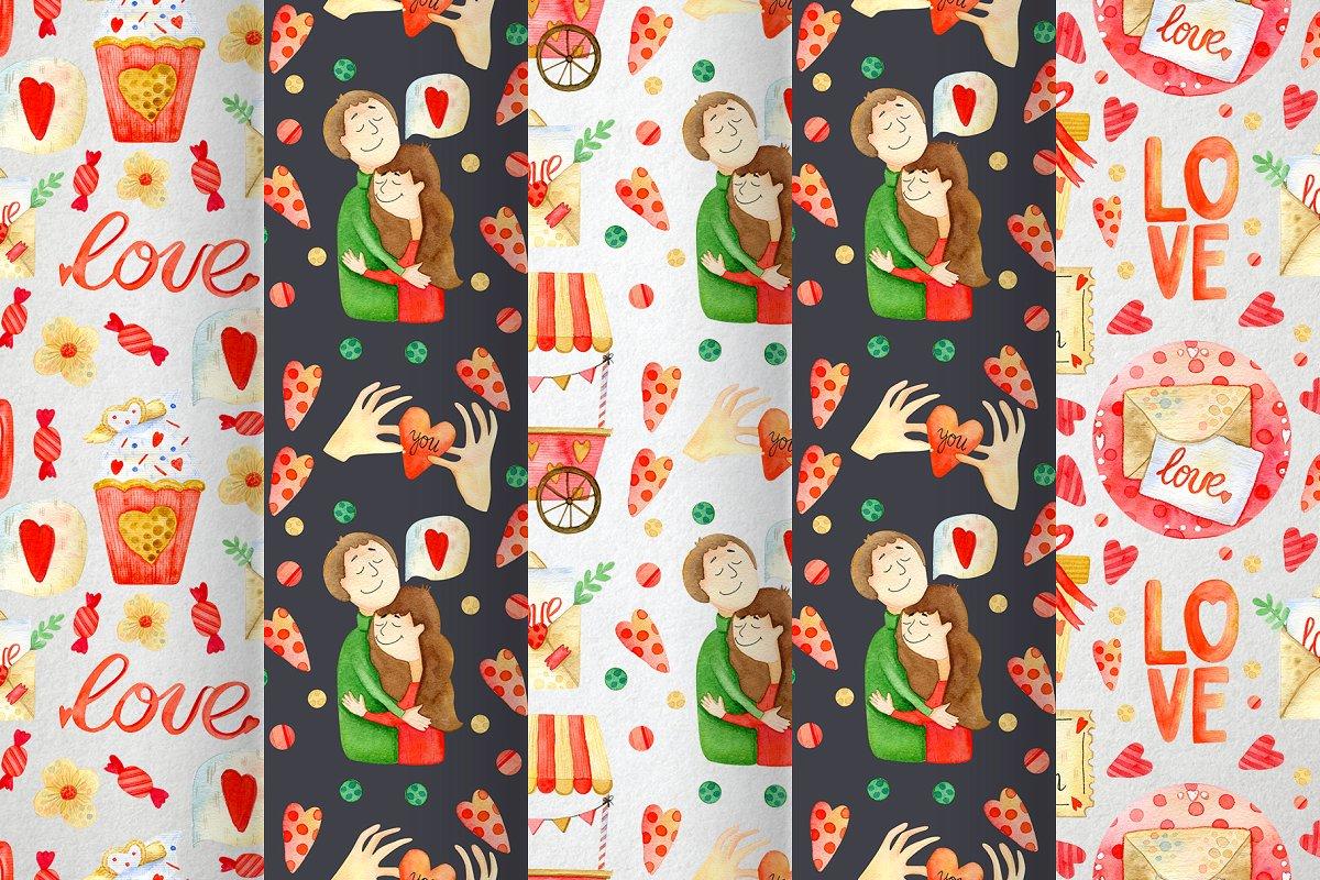 高质量红褐色情人节手绘水彩插画设计素材包 Valentines Day Watercolor Set插图(8)