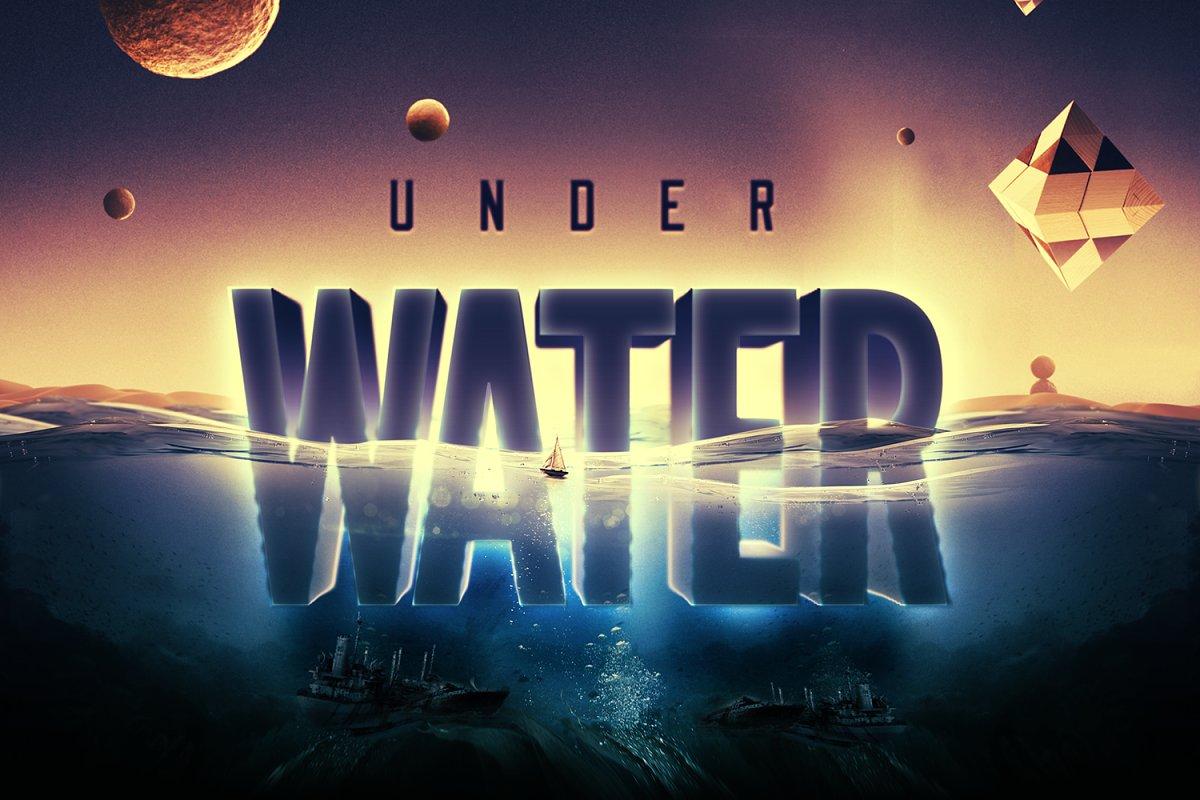 科幻电影半水下文字标志标题3D效果PS图层样式模板 Underwater Text Logo Effect插图(8)