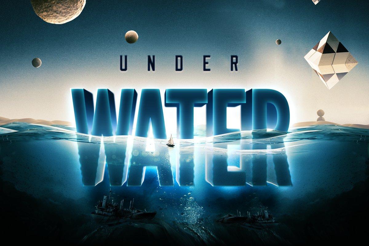 科幻电影半水下文字标志标题3D效果PS图层样式模板 Underwater Text Logo Effect插图