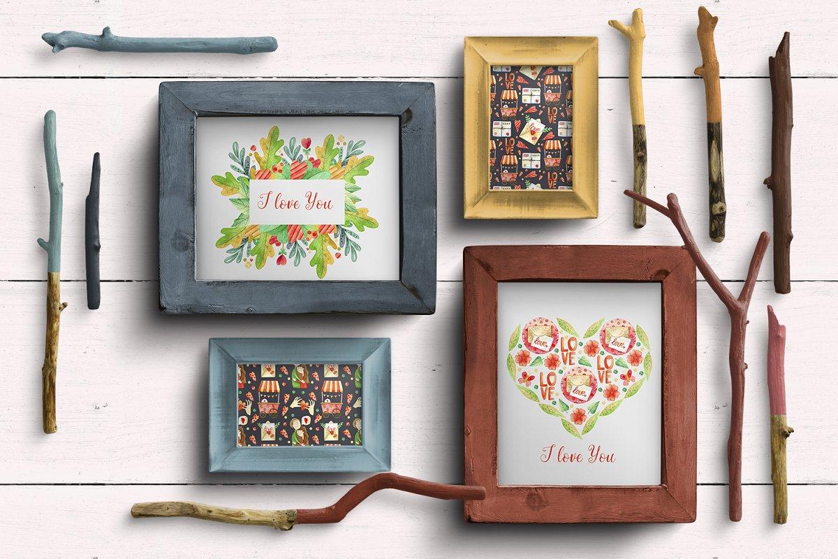 高质量红褐色情人节手绘水彩插画设计素材包 Valentines Day Watercolor Set插图(11)