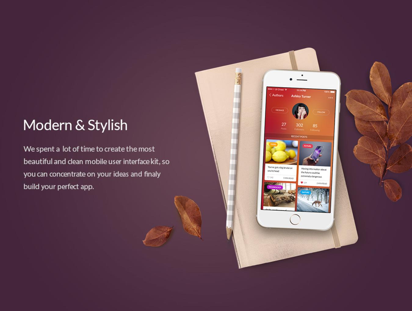 多功能在线购物摄影社交软件APP UI设计模板套件 Chameleon UI Kit插图(1)