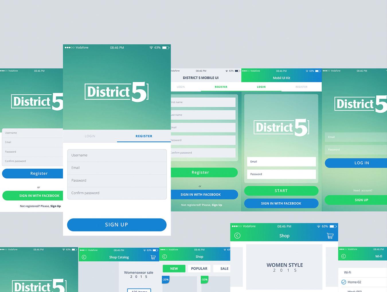 多功能手机应用程序APP UI设计素材套件 District 5 UI Kit插图(2)