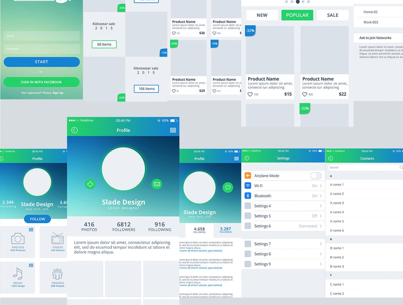 多功能手机应用程序APP UI设计素材套件 District 5 UI Kit插图(3)