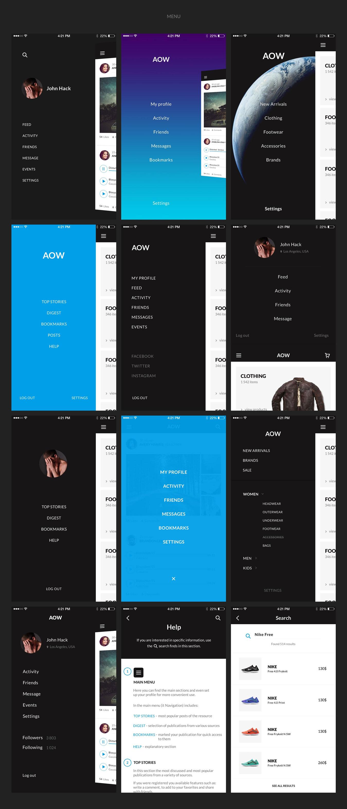 多功能音乐社交电子商城iOS APP UI设计模板套件 AOW UI Kit插图(11)