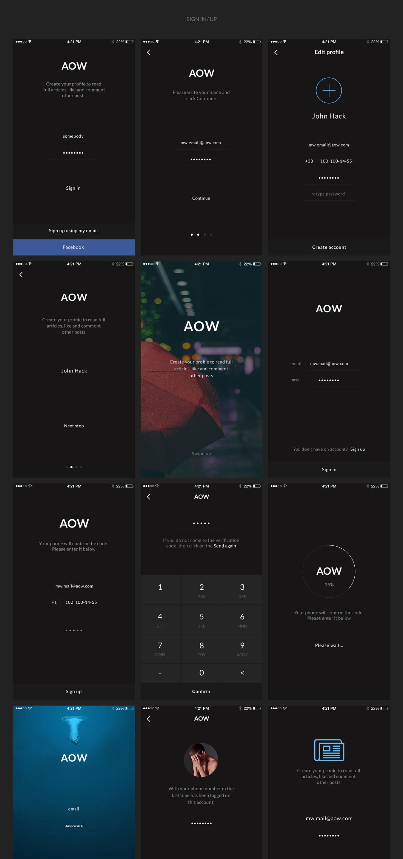 多功能音乐社交电子商城iOS APP UI设计模板套件 AOW UI Kit插图(5)
