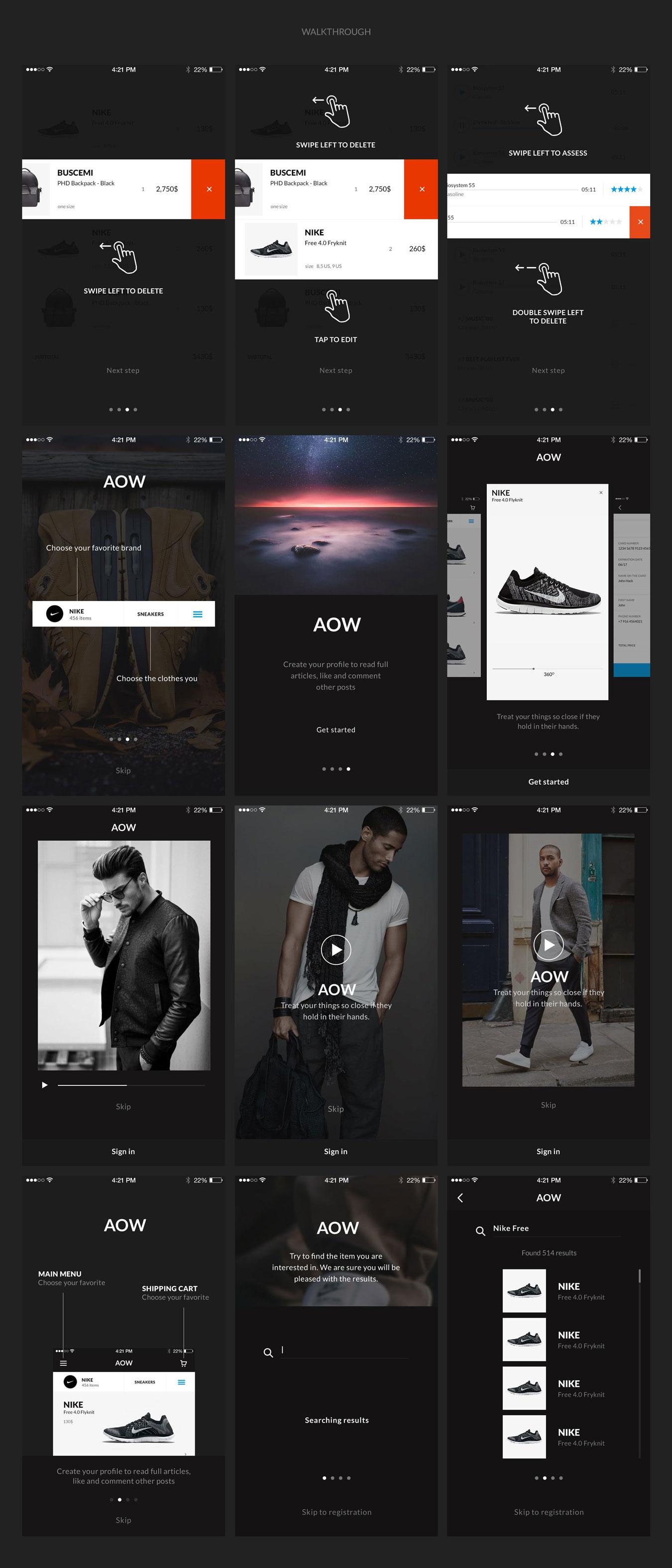 多功能音乐社交电子商城iOS APP UI设计模板套件 AOW UI Kit插图(4)