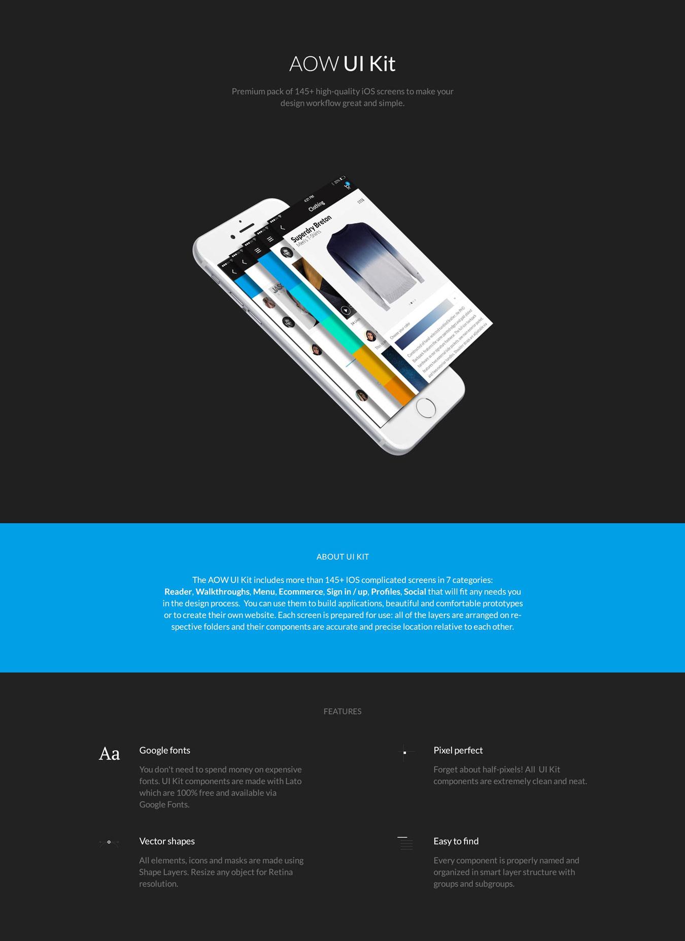 多功能音乐社交电子商城iOS APP UI设计模板套件 AOW UI Kit插图