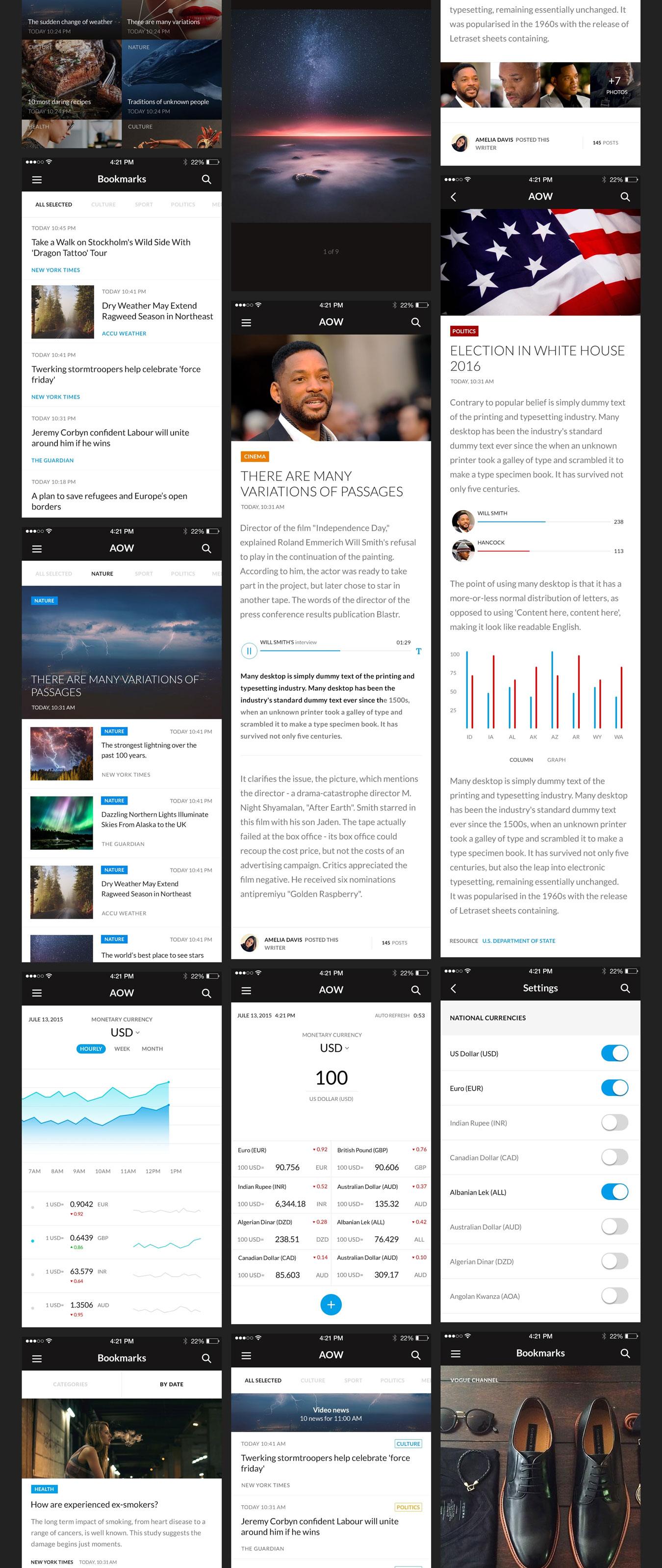 多功能音乐社交电子商城iOS APP UI设计模板套件 AOW UI Kit插图(2)