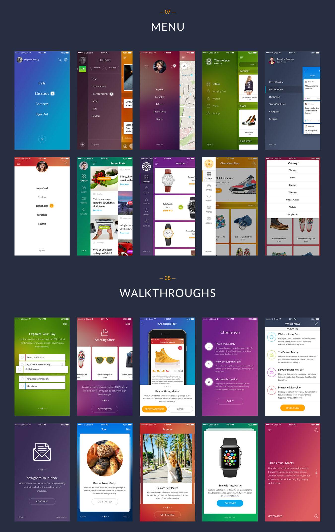 多功能在线购物摄影社交软件APP UI设计模板套件 Chameleon UI Kit插图(7)
