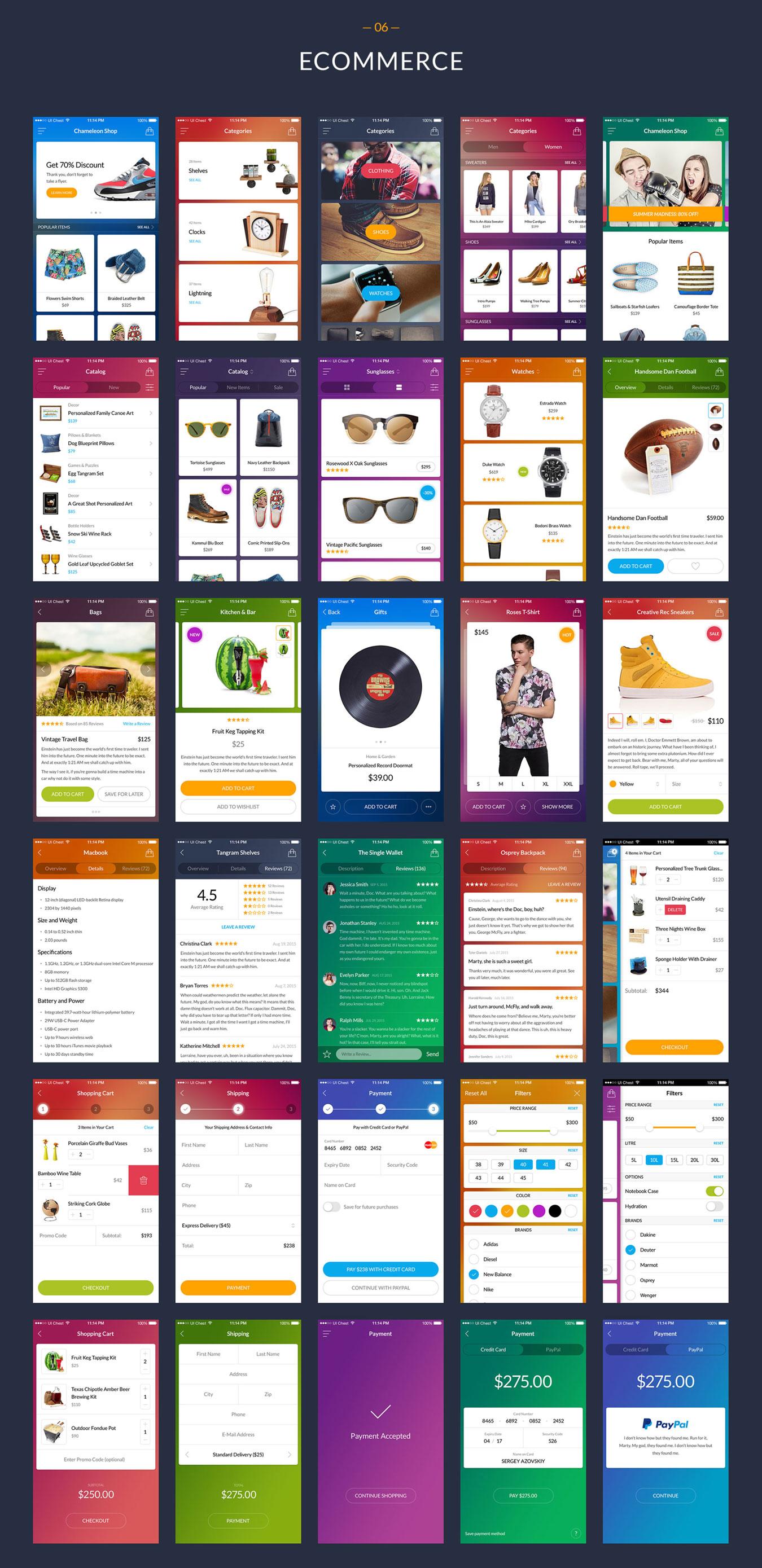 多功能在线购物摄影社交软件APP UI设计模板套件 Chameleon UI Kit插图(8)