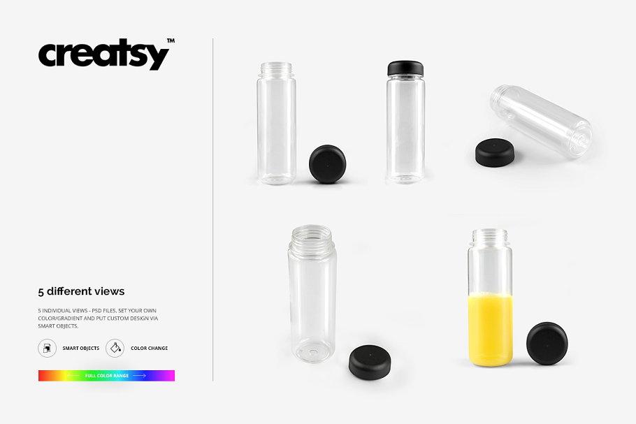 透明塑料水瓶设计效果图样机模板 Clear Water Bottle Mockup Set插图(5)