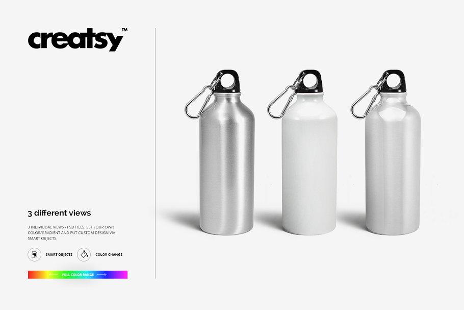 铝质金属水瓶设计PSD样机模板 Aluminium Water Bottle Mockup Set插图(8)
