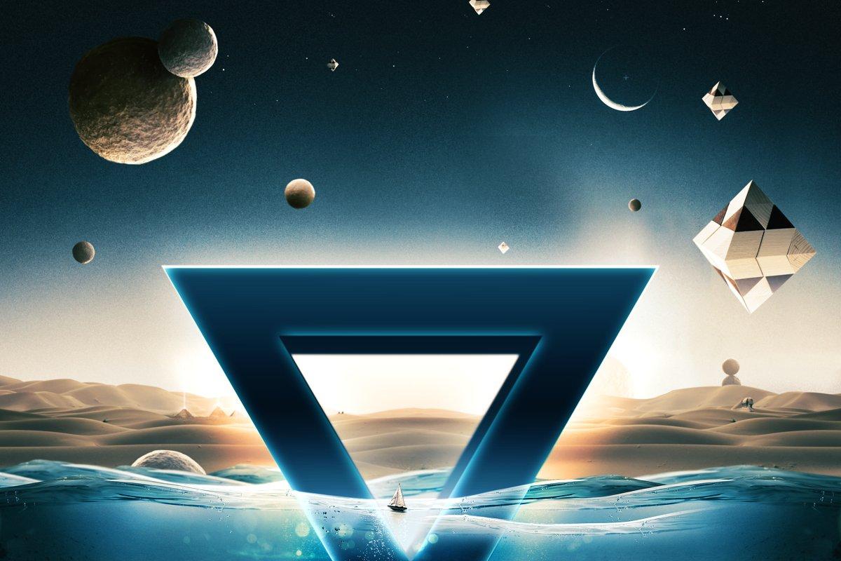 科幻电影半水下文字标志标题3D效果PS图层样式模板 Underwater Text Logo Effect插图(2)